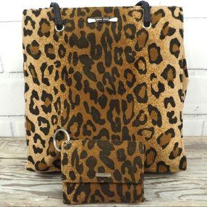 Nine West cheetah print micro suede tote & wallet
